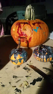 the most fun you could ever have halloween crafts with a toddler, vinyl decal stencil painting pumpkins,
