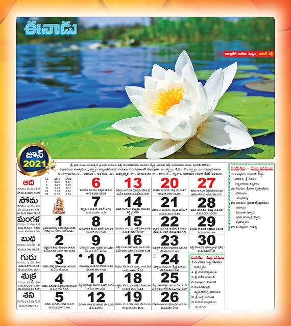 Eenadu Telugu Calendar June 2021