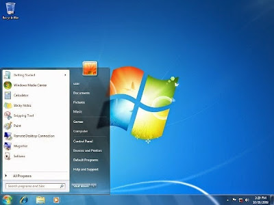 Tampilan default Windows 7