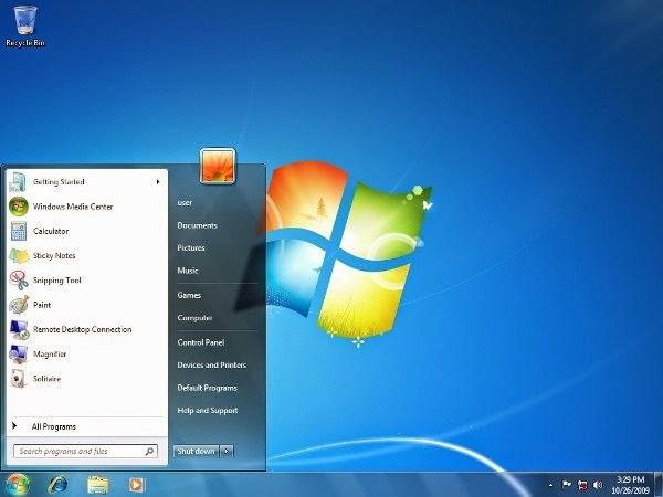 Tampilan default Windows 7