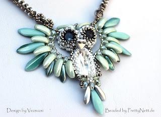 """Beaded pendant """"Hedwig"""" beaded by PrettyNett.de"""