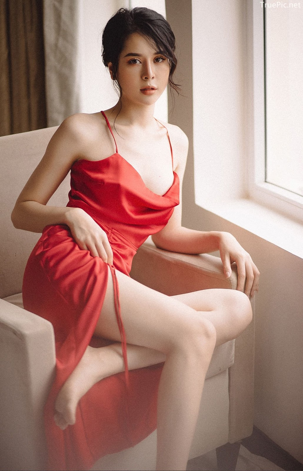 Vietnamese hot model - The beauty of Women with Red Camisole Dress - Photo by Linh Phan - Picture 3