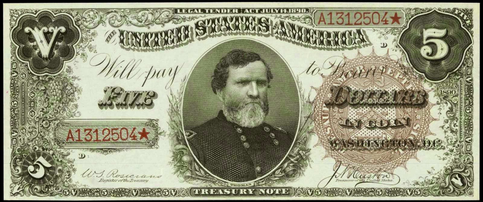 US currency Five Dollar Treasury or Coin Note 1890