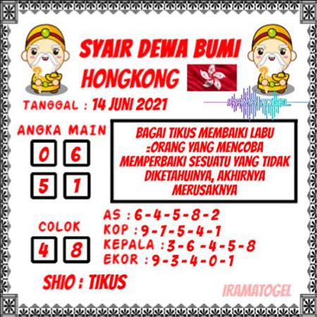 Syair Dewa Bumi HK Senin 14-Juni-2021