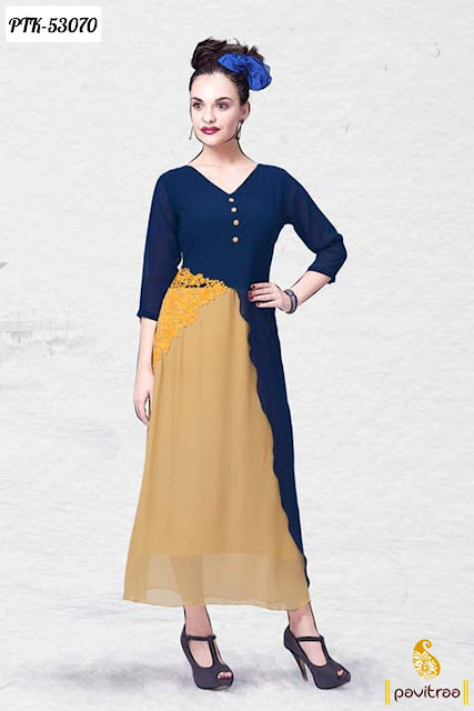 yellow blue color georgette Indian designer ladies anarkali kurti and dresses for wedding party wear online shopping in discount offer sale