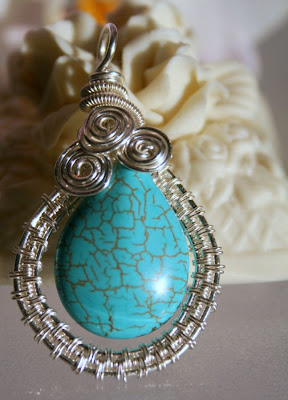 Wire weaved pendant: turquoise, silver :: All Pretty Things