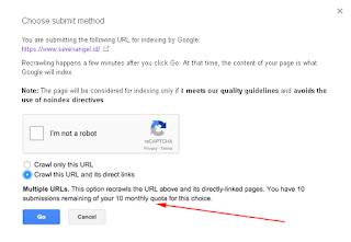 Google Search Console ketika masih ada kuota bulanan