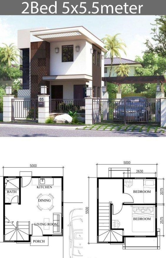 Koleksi Denah Rumah 2 Lantai Dengan Tampak Atap Datar