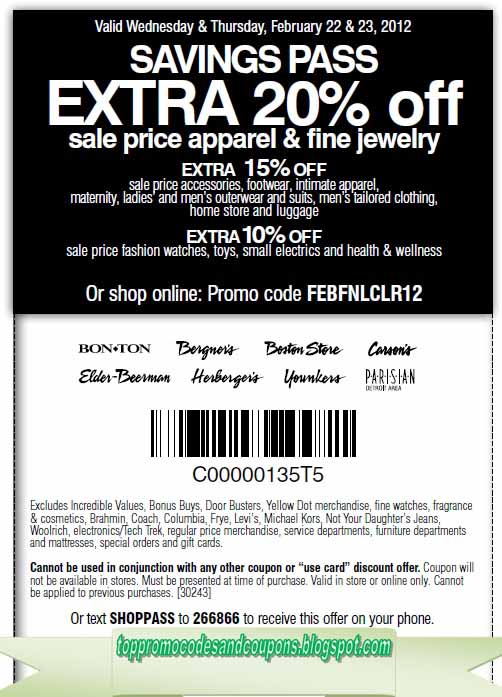 picture regarding Carsons in Store Coupons Printable referred to as Absolutely free Promo Codes and Discount codes 2019: Carson Pirie Scott Discount coupons