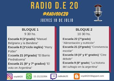Se lee el programa del turno mañana. El primer bloque de radio comienza a las 9.30 y el segundo a las 10.30 horas