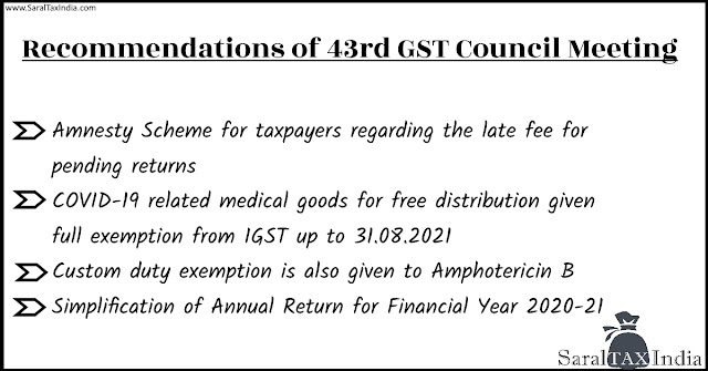 Recommendations of 43rd GST Council Meeting