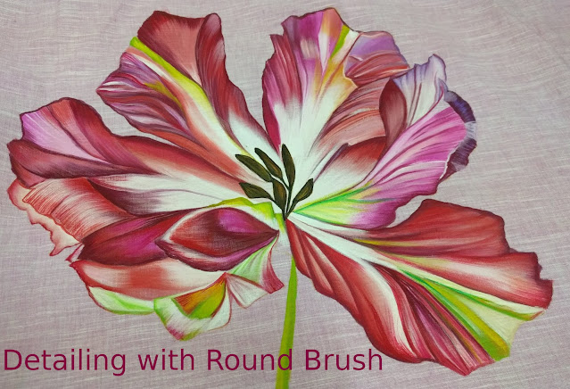 Multi color Flower with shading using round and flat brush