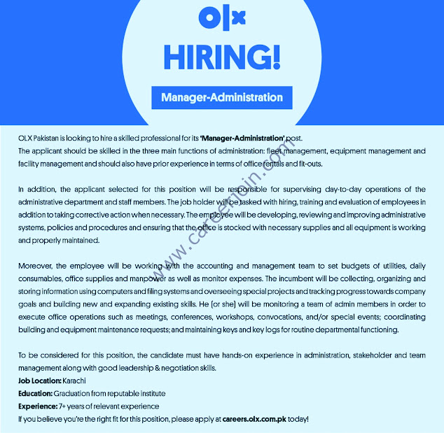 OLX Pakistan Latest  Jobs Manager Administration