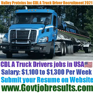 Valley Proteins Inc CDL A Truck Driver Recruitment 2021-22