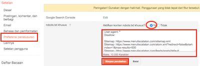 aktifkan robot txt khusus