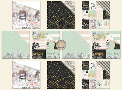 Scraps of Darkness scrapbook kits Aug2017 Coordinating Paper, featuring Prima Rose Quartz and Simple Stories Beautiful collections.
