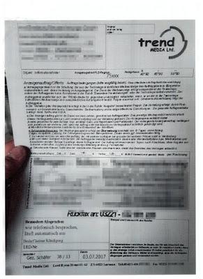 Anzeigenauftrag als Fax von der Trend Media Ltd. | 03.07.2017