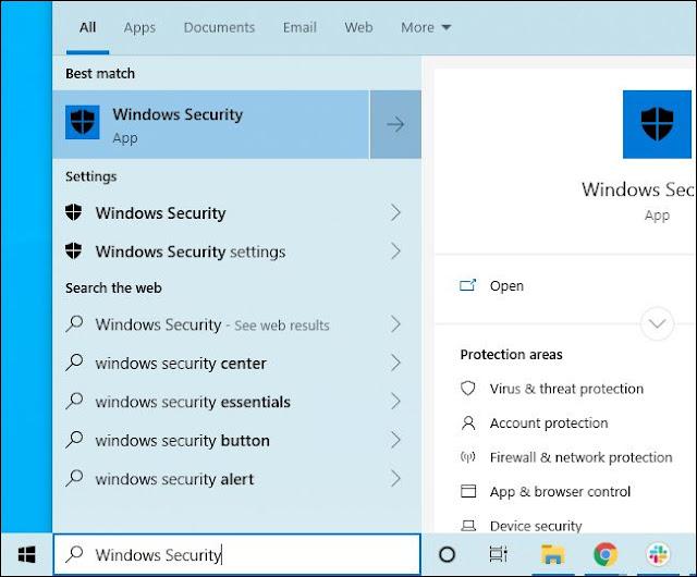 اختصار Windows Security في قائمة ابدأ
