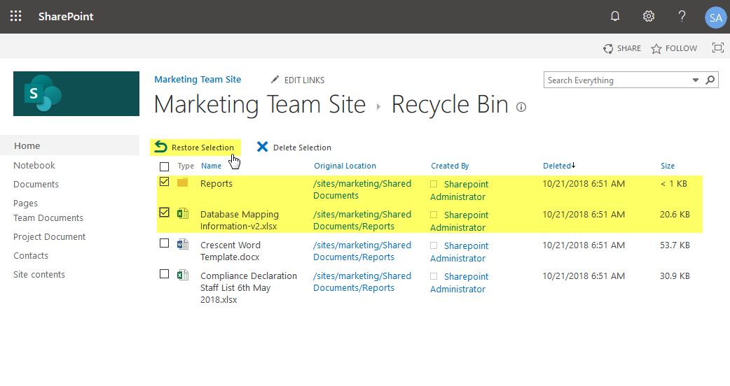 sharepoint online restore from recycle bin powershell