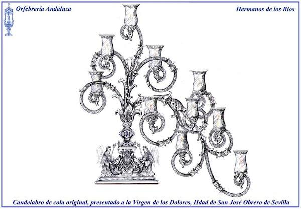 Proyecto de candelabros de cola para el paso de palio de la Virgen de los Dolores de San José Obrero. Se estrenarán el Sábado de Pasión de 2020.