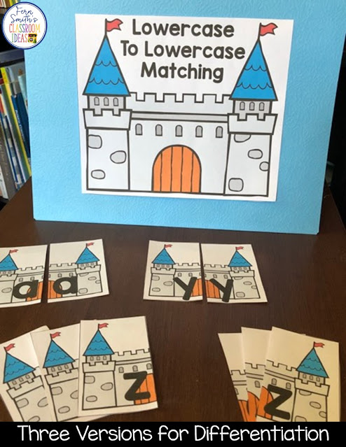 Click Here to Download This Alphabet Matching Literacy Center for Uppercase and Lowercase Letters with a Castle Theme for Your Classroom Today!