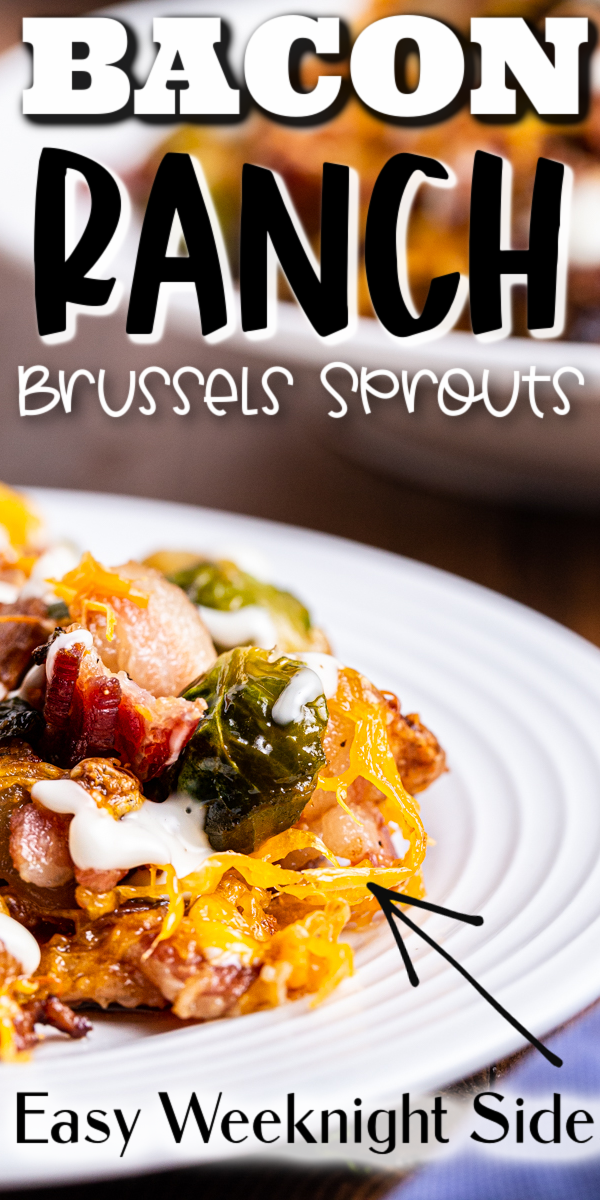 Cheesy Bacon Ranch Brussels Sprouts - This easy to make low carb side dish is a combination of tender roasted brussels sprouts, crispy bacon, melted cheese, and everyone's favorite, ranch dressing. It is a crowd-pleaser! #keto #lowcarb #glutenfree #bacon #cheese #ranch #brusselssprouts #sidedish #recipe | bobbiskozykitchen.com