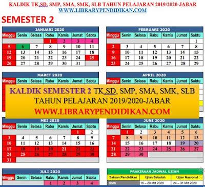 KALDIK TK, SD, SMP, SMA, SMK, SLB SEMESTER 2 TP 2019-2020, http://www.librarypendidikan.com/