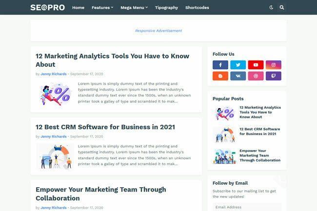 Free Download SEOPro Premium Theme Template Latest Version
