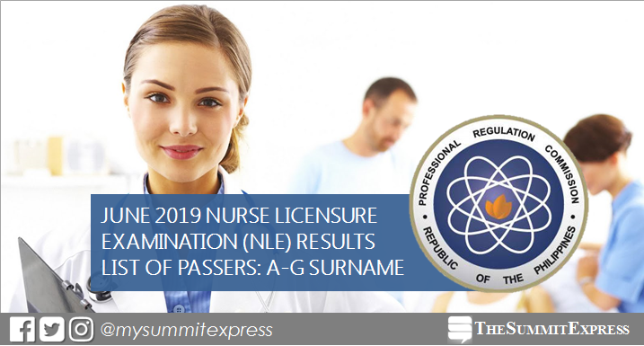 A-G Passers: June 2019 NLE nursing board exam result
