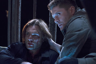 "Jared Padalecki as Sam Winchester and Jensen Ackles as Dean Winchester in Supernatural 11x10 ""The Devil in the Details"""
