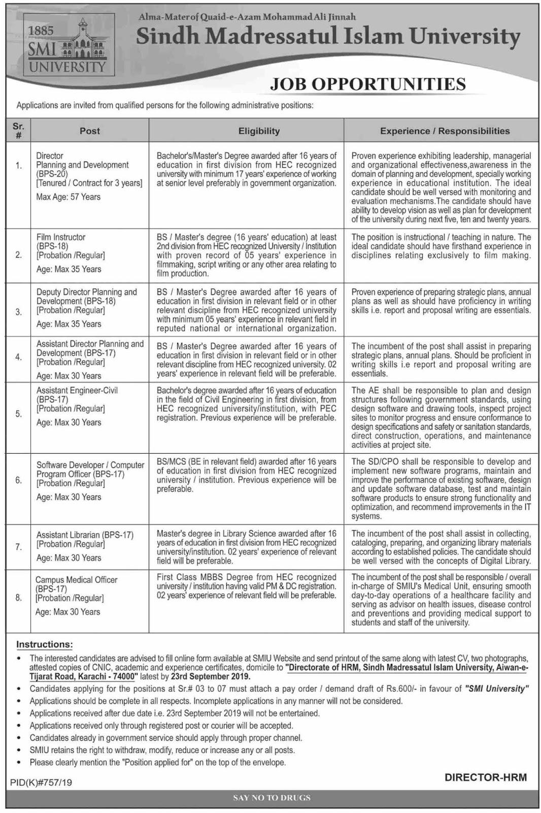 Advertisement for SMI University Jobs September 2019