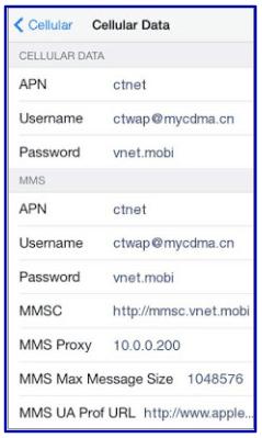 China Telecom APN Settings for iPhone