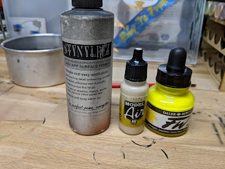 Basecoat Colours - Stynylrez White, AV Sand, FW Yellow (accent)