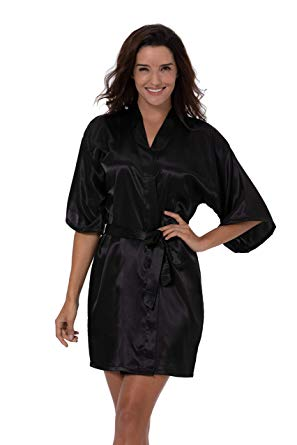 Women's Satin Short Kimono Robe Solid Color Dressing Gown Bridal Party Robe 40% OFF