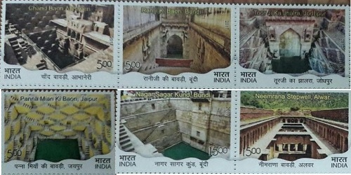 Post Stamps on 6th Historical Places 'Bavadi' of Rajasthan