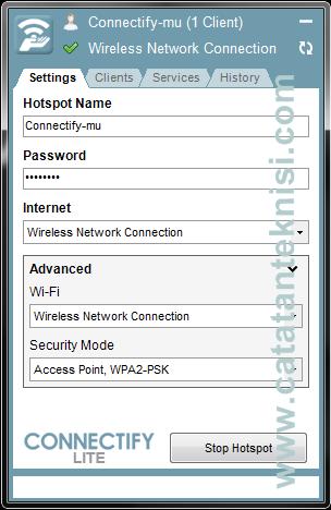 sharing koneksi internet dengan connectify