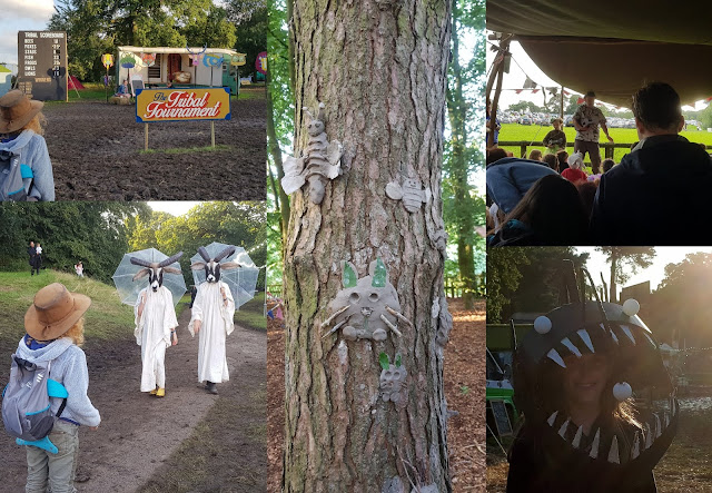 Just So Festival Review 2019 Saturday evening collage of scenes Lanternfish Ukele Clay Faces Tribal Tournament Goat people