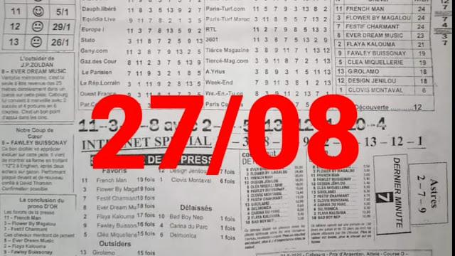 programme quinté+ Pronostic vendredi 27/08/2021