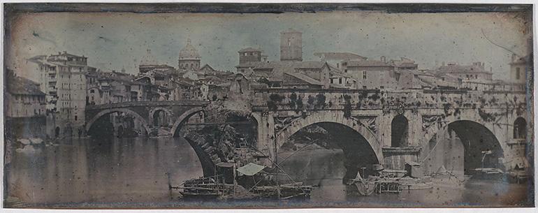 Photographie panoramique du Ponte Rotto à Rome prise par Girault de Prangey en 1842