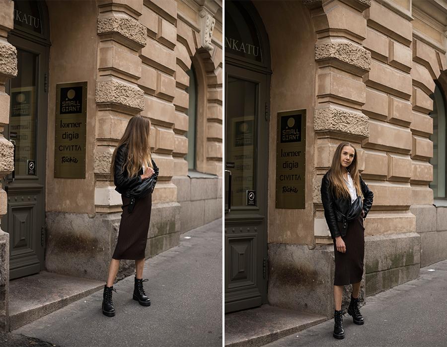 Inspiraatiota syyspukeutumiseen: ruskea hame ja nahkatakki // Autumn outfit inspiration: brown skirt and leather jacket