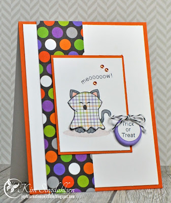 Halloween Ghost Kitty Card by Kim Singdahlsen  for Inky Paws Challenge #3