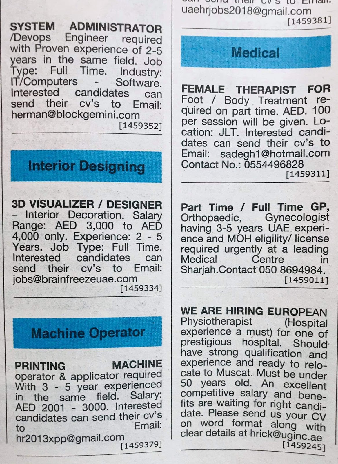 Various Position Required for UAE Local Hiring Jobs Khaleej
