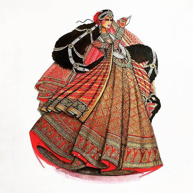 08-Indian-Dress-Drawings-Anoopbarwa-www-designstack-co