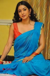 Telugu Actress Vaibhavi Stills in Blue Saree at Www.Meena Bazaar Movie Opening  0087.JPG