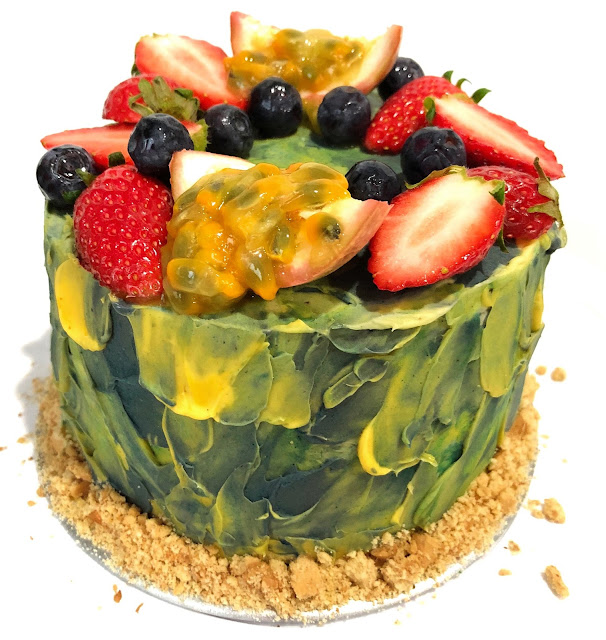 Ombre Blue and Yellow cake with fruits