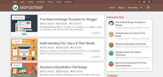 MDFostrap Responsive Free Material Design Blogger Template Warna Coklat