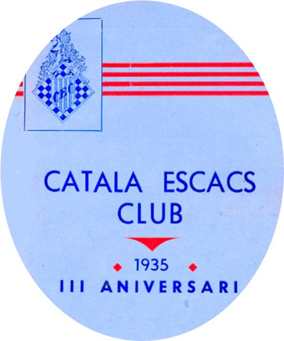 Detalle de la portada del Boletín del III Aniversario del Català Escacs Club