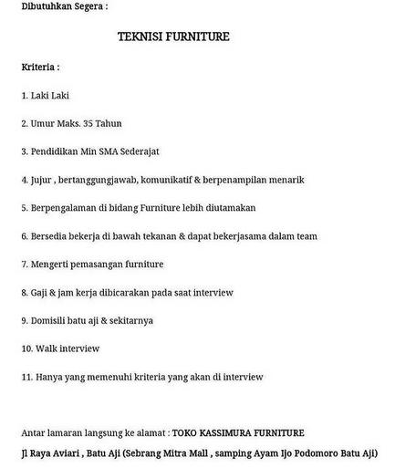 Loker Teknisi Toko Loker Batam 2021
