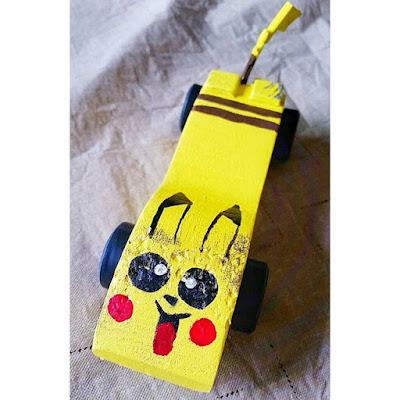 pikachu pinewood derby car