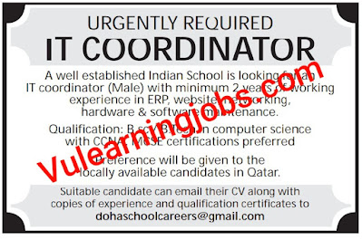 An Indian School Jobs 2020 In Qatar For IT Coordinator Latest